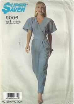 2dd06540443 1980s Wrap Jumpsuit Pleats Short Cuffed Kimono Sleeves Tapered Legs V Neck Retro  80s Super Saver Simplicity 9006 Size 6-8-10 Bust 30-31-32