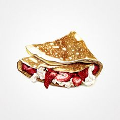 Crepes with Strawberries & Cream. Illustration by Sara Zin, 'Starving Artist'