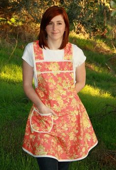 Handmade Womens Apron Cottage Chic Retro Full Apron by TerraceHill Plastic Aprons, Latex Babe, Retro Look, Timeless Beauty, Cottage Chic, Olive Green, Orange Yellow, Elegant, Trending Outfits