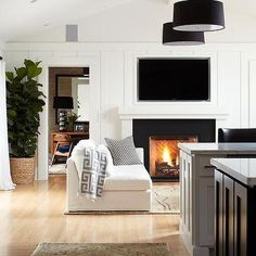 Fireplace TV Niche, Contemporary, living room, Benjamin Moore Super White, Urrutia Design