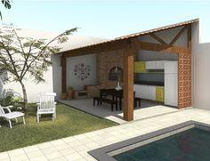 Resultado de imagem para como decorar uma area com fogao a lenha Barbacoa, Bbq, Sweet Home, Outdoor Structures, Outdoor Decor, Kitchen, House, Pasta, Design