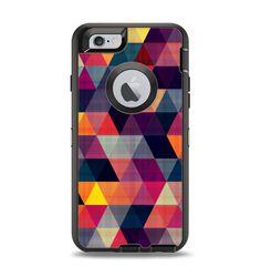 The Vector Triangular Coral & Purple Pattern Apple iPhone 6 Otterbox Defender Case Skin Set