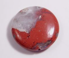 55.41Ct 30x8mm Round Red Jasper Bead for Wire Wrapping/Jewelry Making #Unbranded