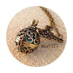 Vintage Victorian Locket Pendant Necklace. Ornament Decorative Medieval. Antique Bronze Keepsake Amulet. Talisman Magic Ball Magical Fantasy...