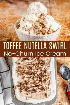 Toffee Nutella Swirl No-Churn Ice Cream - an ultra-creamy, super easy frozen dessert recipe swirled with ribbons of chocolate hazelnut spread and studded with crunchy bits of toffee, and NO ice cream maker is needed. Plus it is gluten free! Easy Gluten Free Desserts, Homemade Desserts, Frozen Desserts, Healthy Desserts, Fun Desserts, Frozen Treats, Dessert Recipes, Toffee Ice Cream, Sugar Free Ice Cream