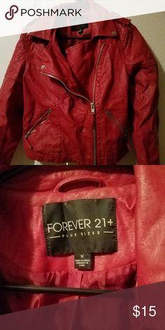 Jacket Fake leather jacket from forever 21. Lays on waist,  not full length jacket. Jackets & Coats