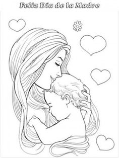 tarjetas dia de la madre para colorear y imprimir Mother And Baby Paintings, Mother And Child Drawing, Mom Drawing, Mother Art, Drawing Sketches, Father Daughter Tattoos, Mother Tattoos, Baby Tattoos, Tattoos For Daughters