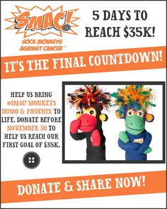 Only 5 days left to meet our total goal!!   Give someone you love with cancer a cuddly monkey to help them SMAC! it.   Pledge here. If you can't pledge, please repin to share. SMAC! on, my friends. My Friend, Friends, Lung Cancer, Monkeys, Bring It On, Action, Meet, Goals, Day