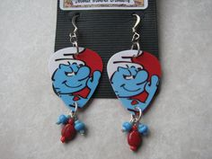 SALE Smurf Guitar Pick Earrings by SweaterWeather on Etsy, $8.00