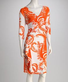 Take a look at this Orange Paisley Wrap Dress by Keep It Cool: Women's Apparel on @zulily today!