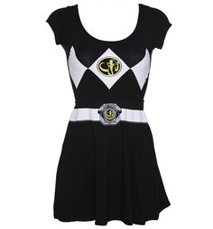 Mesdames noir Mighty Morphin Power Rangers costumes robe de patineur de fort belle