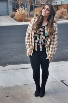 gold plaid flannel outfit with floral nyc muscle tee