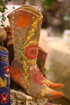 Needlepoint Cowgirl boots