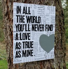 "16x20 ""I cross my heart""- George Strait- Vintage music sheet canvas art. via Houseof3 on Etsy."