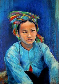 Au marché de Bao Lac - Pastel 38 x 50 cm  By Monika.g