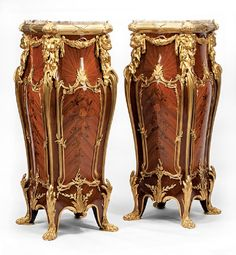 Pair of Louis XV-Style Gilt Bronze-Mounted Kingwood and Marquetry Pedestals, manner of Francois Linke, shaped marble . French Furniture, Luxury Furniture, Antique Furniture, Furniture Design, Shoe Store Design, Modern Bedroom Design, Marquetry, Art Decor, Decor Ideas