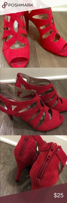 Style & co red heals  These red heals would look great with a black dress!. Dress them up for a night out or dress them for business wear.! Make me an offer.! There is normal wear. Style & Co Shoes Heels