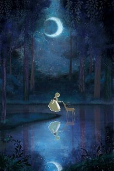 The Art Of Animation, Sugayai - girl lost in the woods with a deer in the moonlight Art And Illustration, Illustration Fashion, Character Illustration, Botanical Illustration, Watercolor Illustration, Fantasy Kunst, Fantasy Art, Lost In The Woods, Art Anime