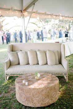 Outdoor wedding furniture: http://www.stylemepretty.com/2014/10/15/classic-southern-wedding-at-edisto-island/   Photography: Sean Money + Elizabeth Fay - http://www.seanmoney-elizabethfay.com/
