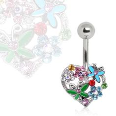 316L Surgical Steel Navel Ring with Flowers & Butterflies on Heart-WildKlass Jewelry
