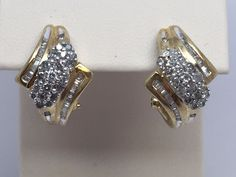 10K YELLOW GOLD DIAMOND CLUSTER LEVERBACK EARRINGS .69CT #Cluster