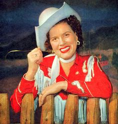 """The Cowgirl Outfit..(No doubt made by the crafty hands of Patsy's Mother (Hilda). *I believe this was taken at """"Town and Country Time' while working for Connie B. Gay)."""