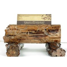 business card holder - wooden office desk accessories - reversible