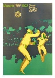 Poster OLYMPIC GAMES AUGUST 26th MUNICH 1972 ESCRIME 100 x 62 cm condition A