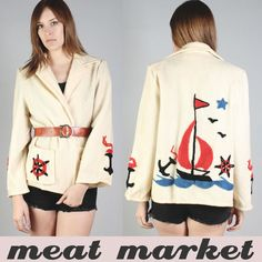 Vtg Anchor Boat Wool Sailor Knit Nautical Jacket Sweater Cardigan Coat 60s XS S | eBay