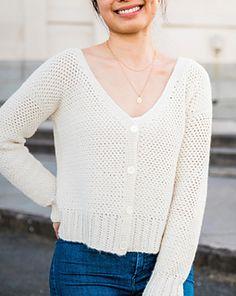 Crochet Jumper, Crochet Cardigan Pattern, Crochet Patterns, Crochet Sweaters, Knit Crochet, Fall Cardigan, V Neck Cardigan, Easy Crochet, Free Crochet