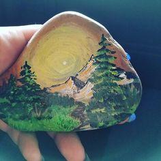 Mountain rock #cowlitzcountyrocks #paintedstones #acrylic #hobby #loveit