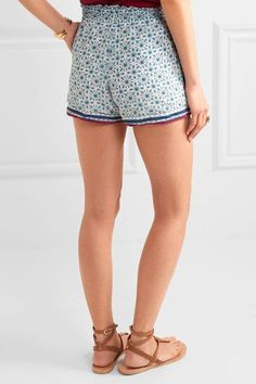 Talitha - Dainty Floral-print Cotton And Silk-blend Shorts - Blue -