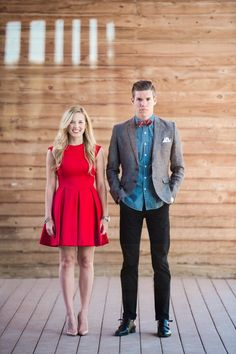 Engagement photo outfit inspiration: red dress for the lady, chambray and a tweed jacket for the gent