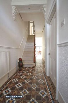 Love the tiled hallway, looks exactly like our old flat hallway! Edwardian Haus, Edwardian Hallway, Hall Tiles, Tiled Hallway, White Hallway, Hallway Colours, Hall Flooring, Hallway Inspiration, Loft