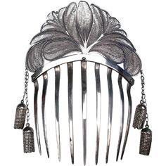 Early Victorian Hair Comb Algerian Silver Tone Metal with Dangles Hair Accessory