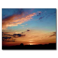 Sunset Hues Postcard (Pkg of 8) by KJacksonPhotography -- Taken 06.22.2013 Just as the sun was sinking below the horizon, its rays lit up the clouds and sky to exhibit orange, dark orange and purplish hues on the Bennoch Road in Stillwater, Maine.PC:138.162 #nature #maine #sunsethues #scenic #skyscapes #postcard #postcards