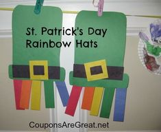 2 St. Patrick's Day Crafts for Kids - Rainbow hats and rainbows with clouds.  Simple and cute!