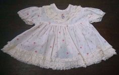 Vtg Baby Girl Party Dress 6-9M Ivory Lace Ruffles Spring Pink Flowers Swoop Hem #Unbranded #Party #Party