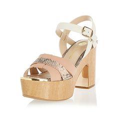 Light pink wooden platforms - heeled sandals - shoes / boots - women