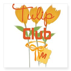 Tulip Club Gardener Florist Sticker, editable text, monogram, for personalized gifts.