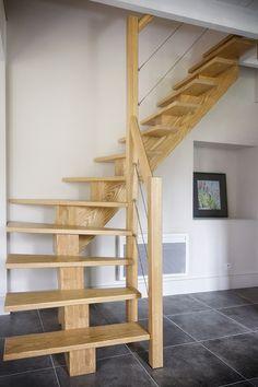 Escalier bois 1/4 tournant, rampe bois et cables métalliques