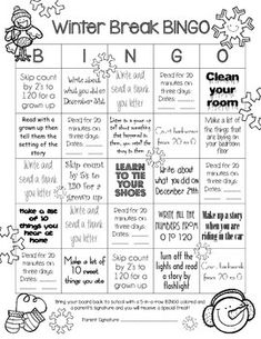 Winter Break Homework BINGO for First Grade This simple, single page has activities for Winter Break that cover several First Grade CCSS in Reading, Math and Writing.