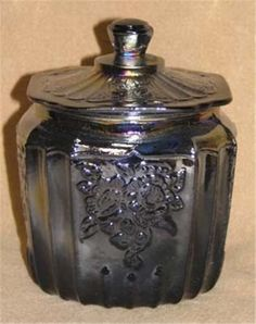 Black Carnival Glass Mayfair Style Cookie Jar