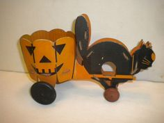 Vintage Halloween Candy Container ~ Cardboard Cat Pulling Pumpkin Cart from Woolworth's