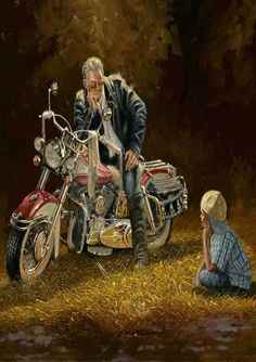 """When I Grow Up Motorcyle Art Print By Dave Barnhouse  24/"""" x 18/"""""""