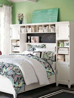 Storage ideas around the headboard fitting cabinets
