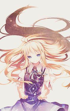 Anime girl, magic, Her dress looks like the univers