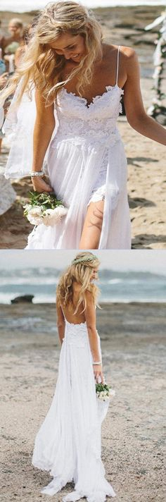 Chiffon Sweetheart Beach Wedding Dress with Lace,Romantic Bridal Gown Promnova #Chiffon #Sweetheart #Beachwedding #Lace #Bridalgown