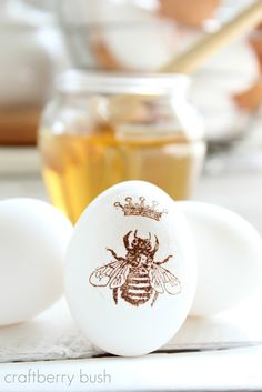Awesome way to use your stamps on hand to decorate Easter eggs! You could also try using pre-printed party napkins.
