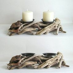 Bring the outdoors inside with this rustic candle holder made from driftwood and designed to hold two pillars candles of your choice. It's perfect for a patio or to complete your coastal look. Driftwood Candle Holders, Rustic Candle Holders, Rustic Candles, Diy Candles, Pillar Candles, Rustic Wood, Candle Wax, Beeswax Candles, Driftwood Furniture
